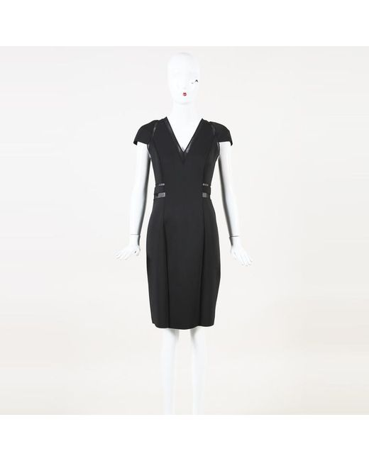 Carolina Herrera Black Silk Mesh Knee Length Dress
