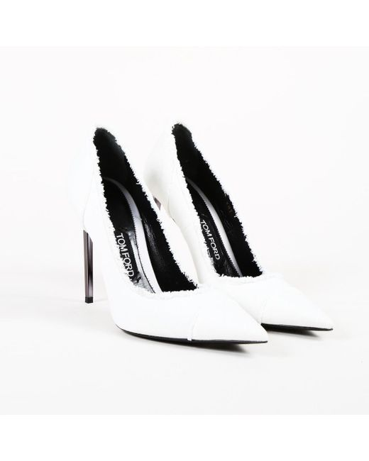 Tom Ford - White Leather Pointed Pumps - Lyst