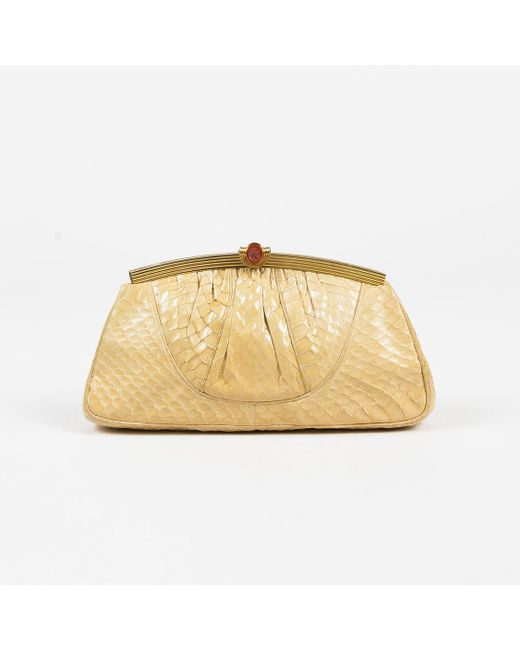 Judith Leiber - Natural Vintage Cream Snakeskin Chain Strap Clutch Bag - Lyst