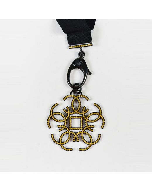 Chanel - Yellow Black & Gunmetal Gray Grosgrain Ribbon Crystal Pendant Necklace - Lyst
