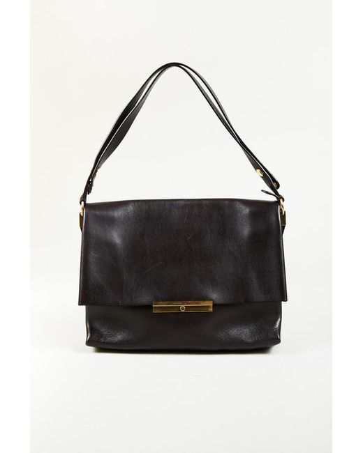Lyst - Céline Dark Brown Leather Gold Hardware