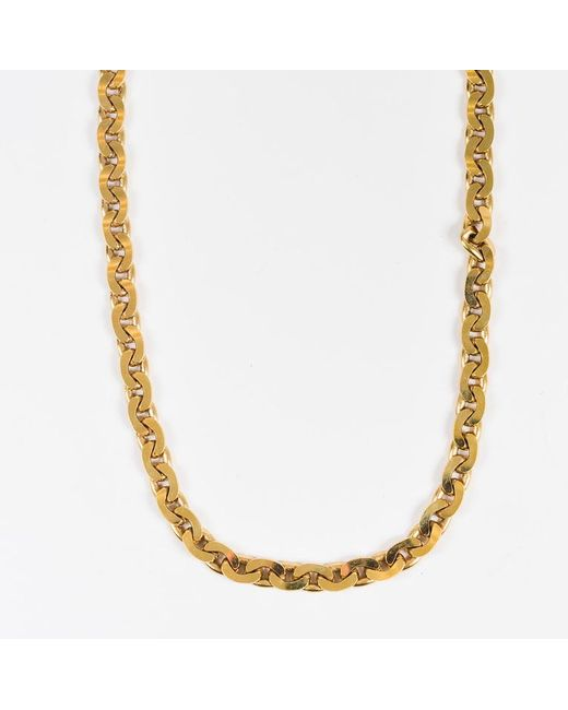 Lanvin - Metallic Gold Silver Two Tone Flat Curb Link Chain Toggle Necklace - Lyst