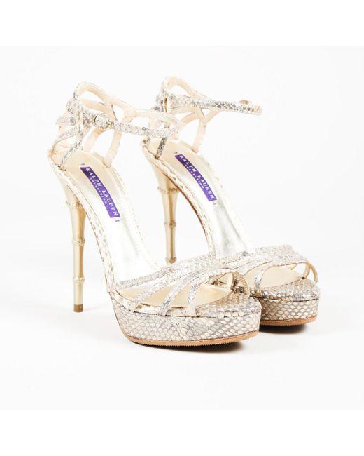 """Ralph Lauren - Metallic Gold Python """"blessa"""" Platform High Heel Sandals - Lyst"""