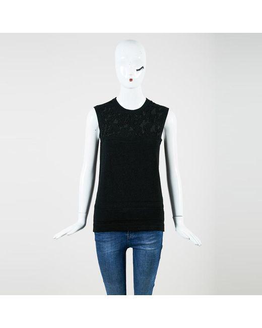 Carolina Herrera - Black Wool & Silk Sleeveless Sweater Shell - Lyst