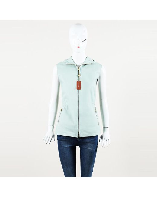 Loro Piana - Green Leather Hooded Vest - Lyst
