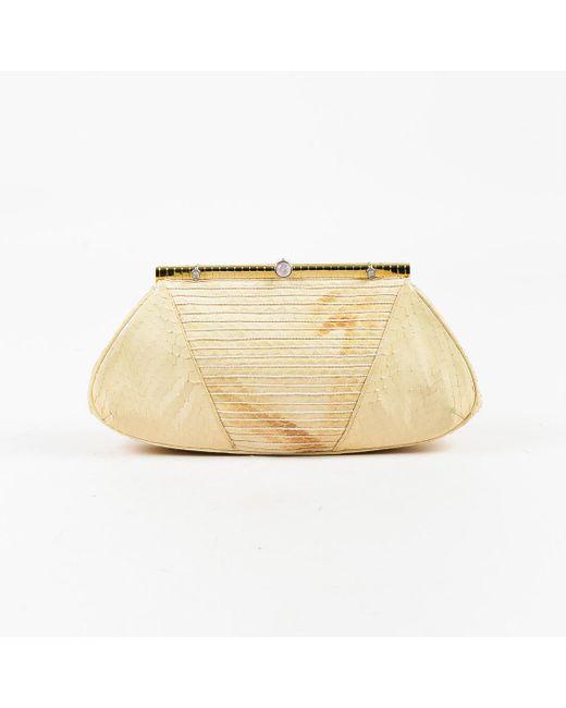 Judith Leiber - Natural Cream Snakeskin Gold Tone Frame Clutch Bag - Lyst