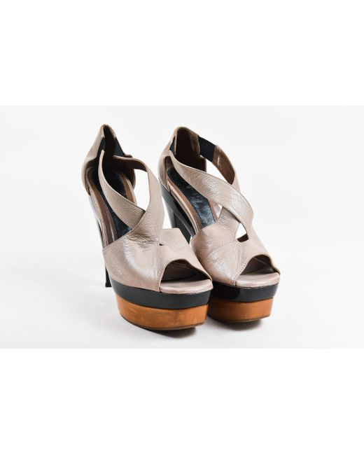 ad396d870db Marni - Brown Taupe Leather   Patent Peep Toe Wooden Platform Heeled  Sandals - Lyst