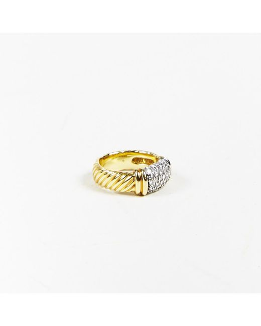 "David Yurman - Metallic 18 Karat Yellow Gold & Pave Diamond ""metro"" Cable Ring - Lyst"