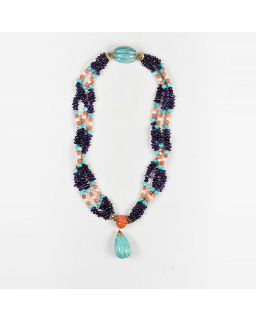 Iradj Moini - Blue 18k Yellow Gold Amazonite Coral Amethyst & Pearl Pendant Necklace - Lyst
