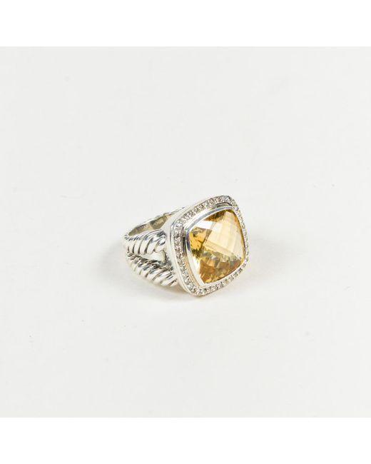 "David Yurman - Metallic ""albion"" Sterling Silver Diamond & Citrine Cable Ring - Lyst"