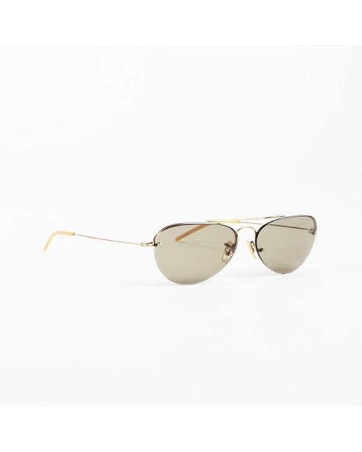 "Oliver Peoples - Metallic Gold ""140 Challenger"" Small Round Sunglasses - Lyst"