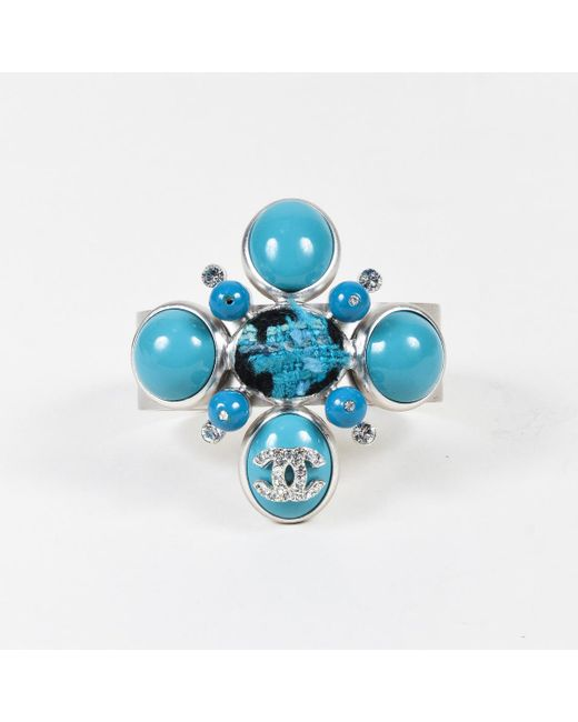 Chanel - Blue Turquoise Colored Beads Crystals Tweed Cuff Bracelet - Lyst