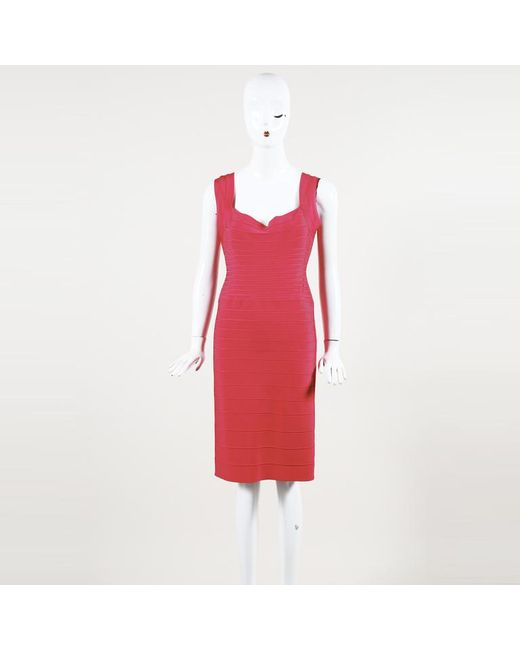 """Hervé Léger Pink Stretch """"lulu"""" Knee Length Dress"""