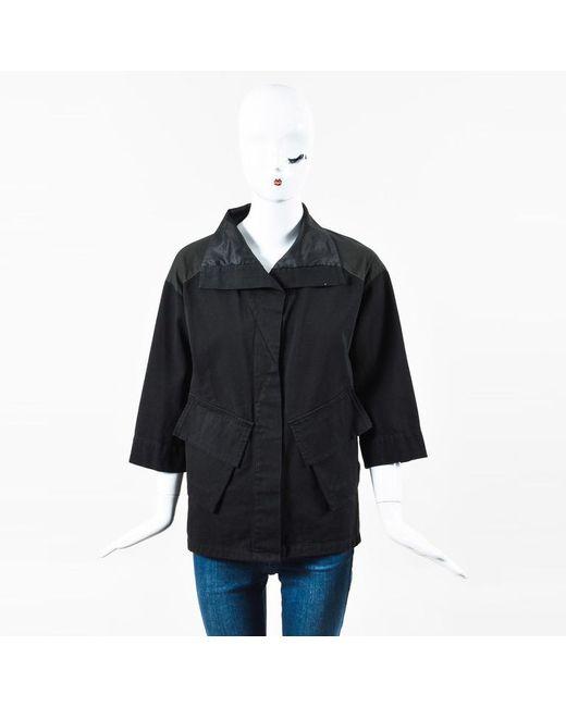 Dries Van Noten - Black Corduroy Poplin Contrast Crop Sleeve Cargo Shirt Top - Lyst