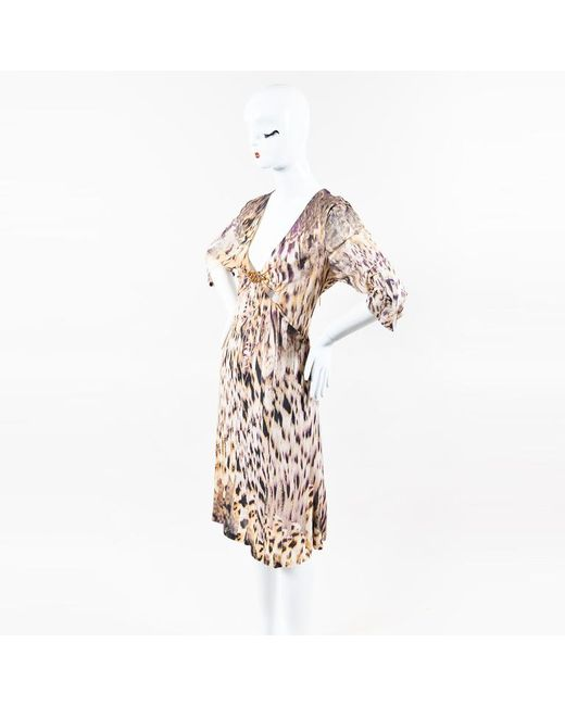 Roberto Cavalli - Multicolor Tan Purple Black Abstract Print Plunge Neck Snake Accent Dress - Lyst