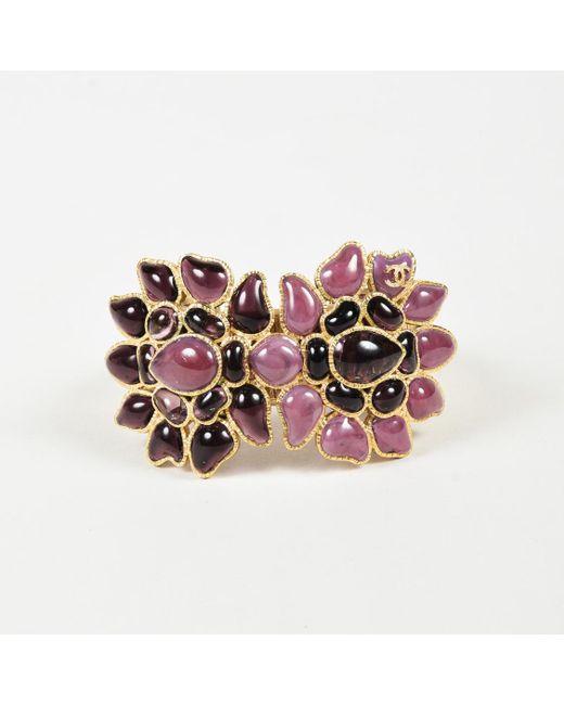 Chanel - Fall 2007 Purple Enamel Gripoix & Gold Tone Metal Floral Cuff Bracelet - Lyst