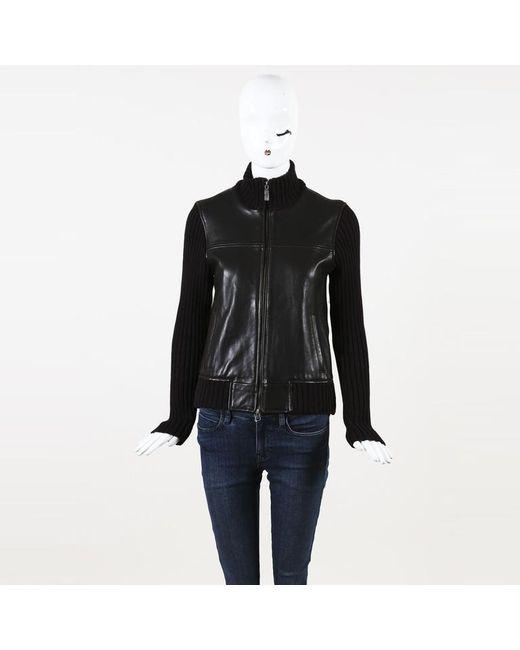 Michael Kors - Brown Michael Leather Knit Jacket - Lyst