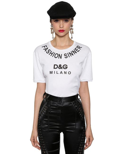 Dolce & Gabbana - White Fashion Sinner Logo Print Cotton T Shirt - Lyst