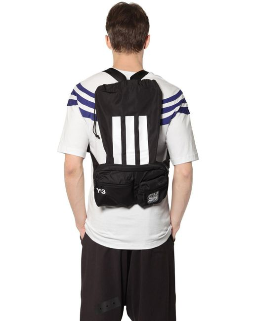 Y-3 | Black Logo Nylon Twill Belt Pack W/ Backpack for Men | Lyst