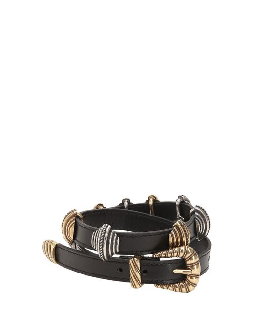 Etro - Black Leather Belt W/ Sliding Metal Details - Lyst