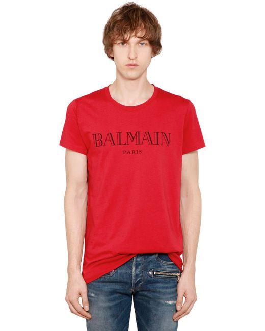 Balmain - Red Logo Printed Cotton Jersey T-shirt for Men - Lyst