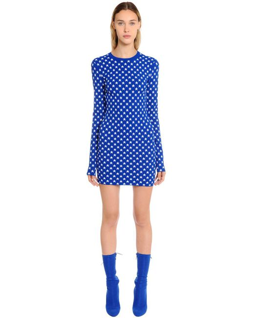Givenchy - Blue Star Jacquard Knit Dress - Lyst
