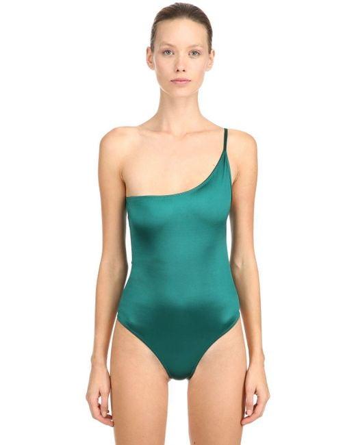 FANTABODY - Green Pina One Shoulder Stretch Bodysuit - Lyst