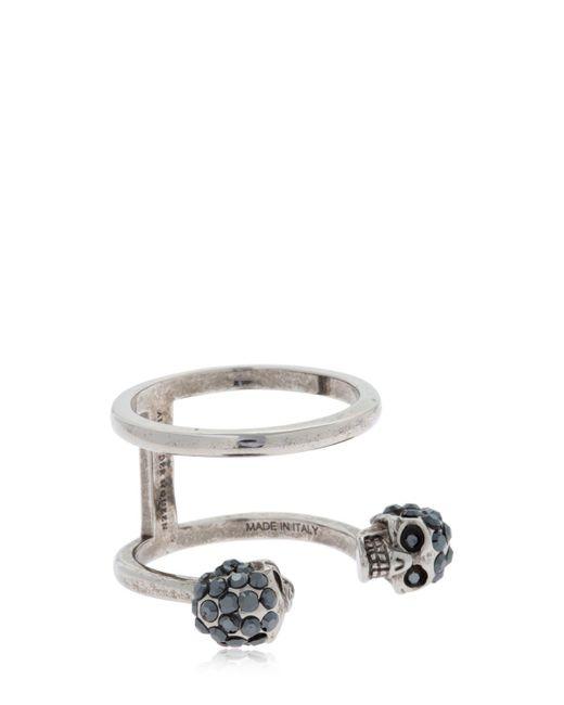 Alexander McQueen - Metallic Silver Double Skulls Stacked Ring - Lyst