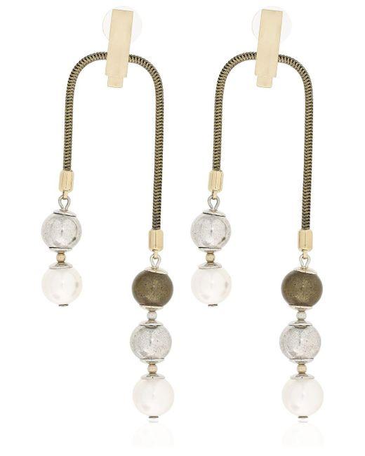 Lanvin - Metallic Faux Pearl Earrings - Lyst