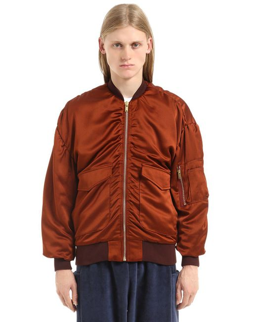 Etudes Studio - Brown Silk Satin Bomber Jacket - Lyst