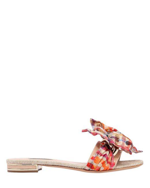 Casadei - Multicolor 20mm Satin Bow Suede Slide Sandals - Lyst