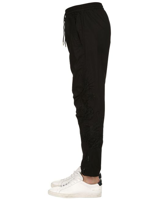 Maharishi - Black 19cm Embroidered Cotton Biker Pants for Men - Lyst