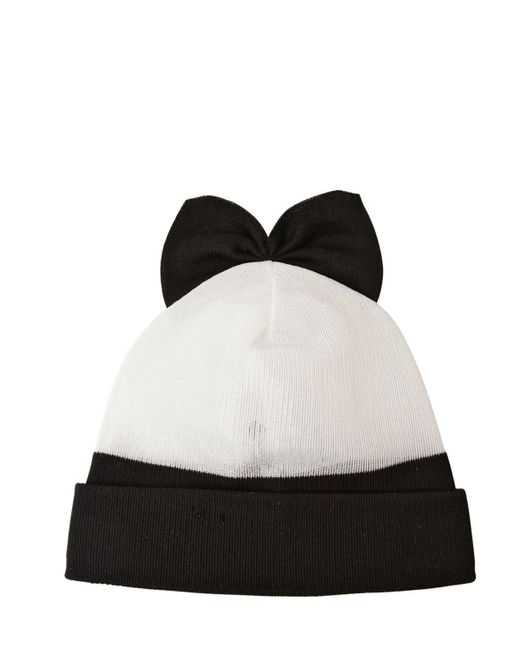 Federica Moretti White Cotton Blend Beanie Hat With Bow