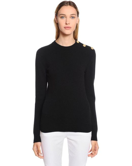 Balmain - Black Crewneck Wool Knit Sweater W/ Buttons - Lyst