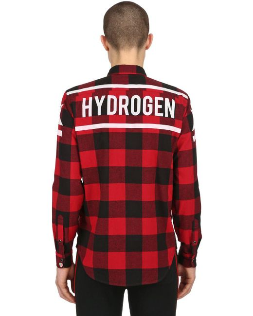 Hydrogen - Red Flanellhemd Aus Baumwolle for Men - Lyst