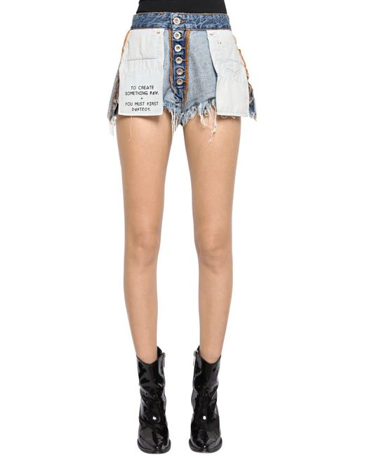 Unravel - Blue Reversible Cotton Denim Shorts - Lyst