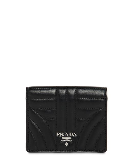 Prada - Black Small Quilted Leather Snap Wallet - Lyst
