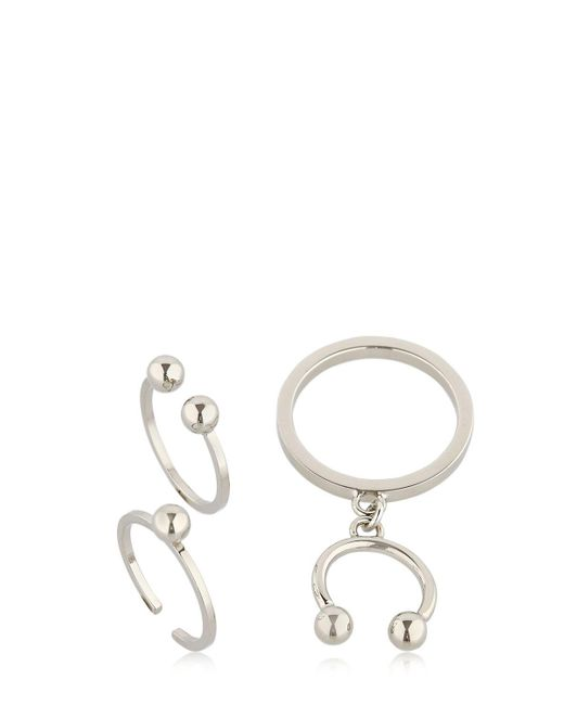 Maria Francesca Pepe   Metallic Pierced Set Of 3 Rings   Lyst