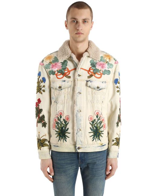 Men's Blue Embroidered Patch Shearling Denim Jacket by Gucci