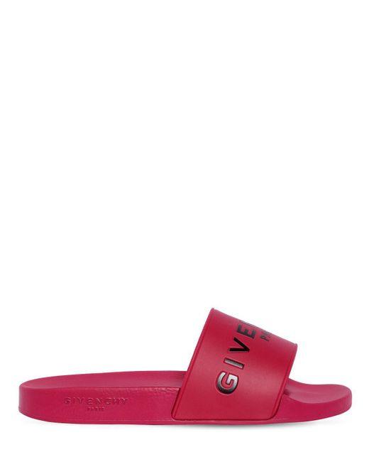 Givenchy - Multicolor Embossed Logo Rubber Slide Sandals - Lyst