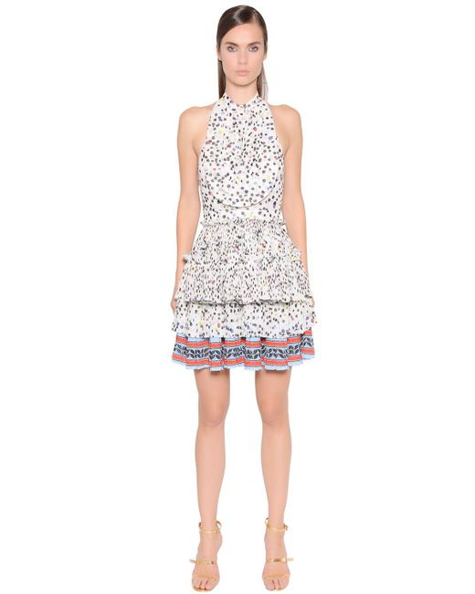Just Cavalli - Multicolor Printed Pleated Techno Chiffon Dress - Lyst