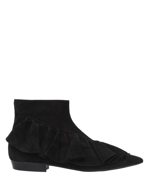 J.W. Anderson - Black 10mm Ruffle Suede Ankle Boots - Lyst