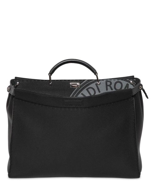 Fendi - Gray Medium Peekaboo Tumbled Leather Bag for Men - Lyst