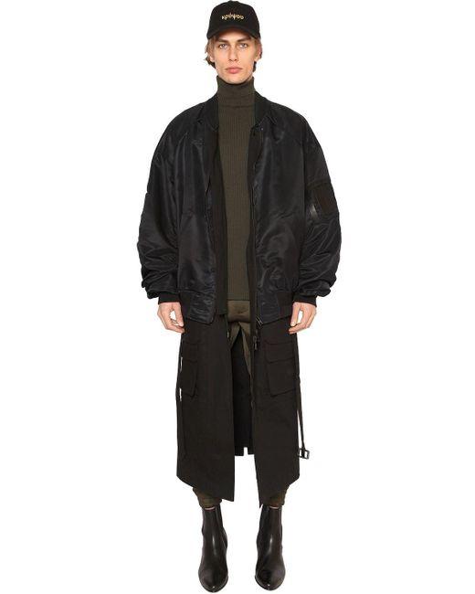 Juun.J | Black Nylon Bomber Jacket W/ Long Panels | Lyst
