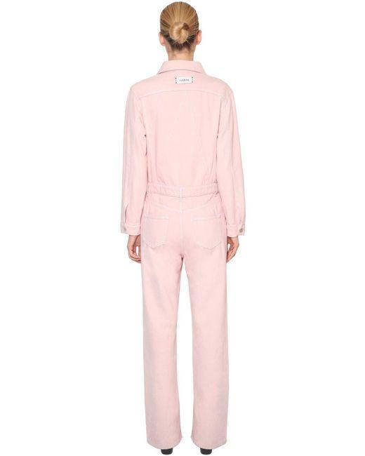 9029435b065a ... Ganni - Pink Sheldon Cotton Denim Jumpsuit - Lyst ...