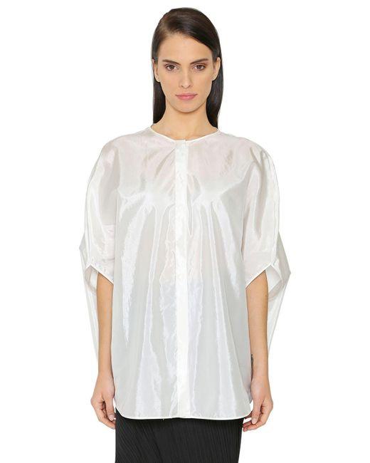 Jil Sander | White Oversized Silk Blend Satin Shirt | Lyst