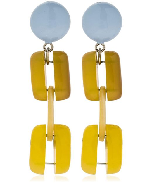Marni - Yellow Horn Chain Clip-on Earrings - Lyst
