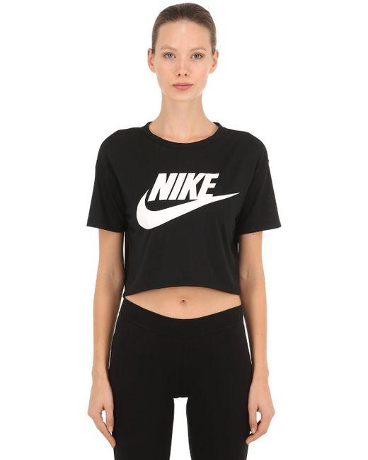 4fdc3236cbb72 Nike - Black Sportswear Essential Cropped T-shirt - Lyst ...