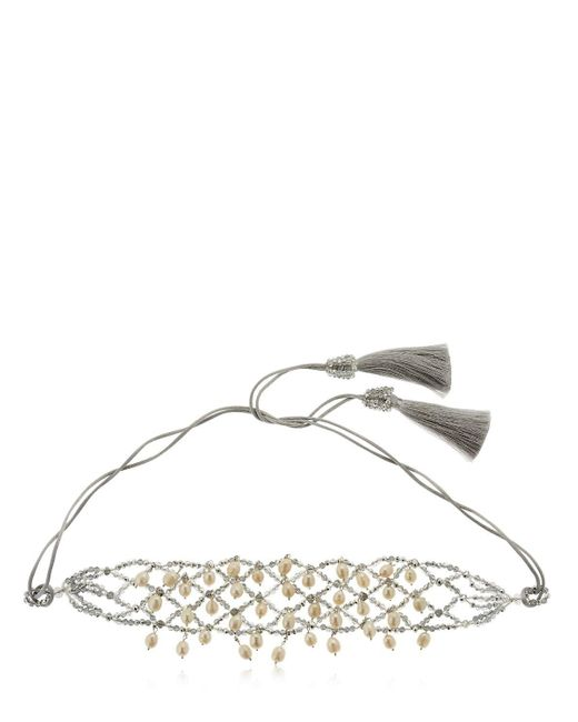 Night Market | Metallic Natural Pearls Crochet Necklace | Lyst