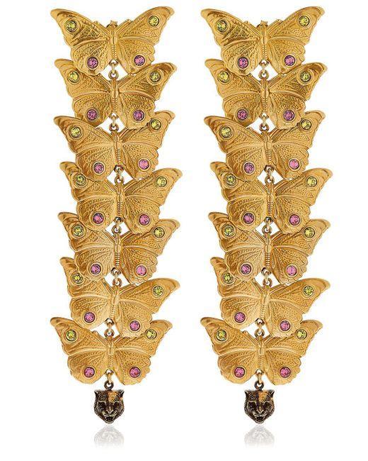 Gucci - Metallic Statement Butterfly Earrings - Lyst
